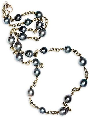Sylva & Cie 18K Yellow Gold & 7-7.75MM Grey Baroque Pearl Long Chain Necklace