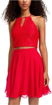City Studios Juniors' 2-Pc. Glitter Lace & Chiffon Dress