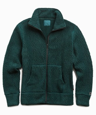 Todd Snyder + Champion Full Zip Polartec Jacket in Bottle Green