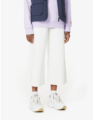 Tommy Jeans Wide-leg mid-rise cotton-twill trousers