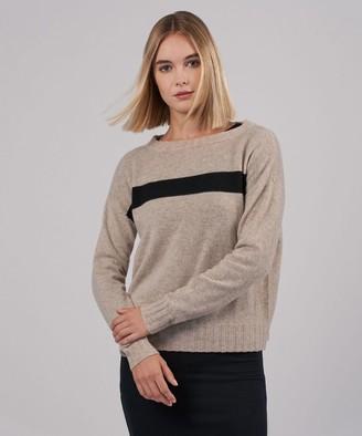Atm Cashmere Blend Stripe Bateaux Neck Sweater - Desert Heather Combo