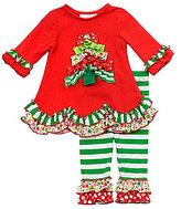 Rare Editions 3-24 Months Holiday Tree Dress & Mixed-Media-Ruffle Leggings Set