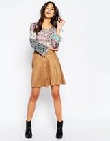 Vero Moda Button Faux Suede Skirt