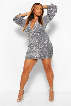 boohoo Plus Sequin Ruched Waist Wide Sleeve Dress