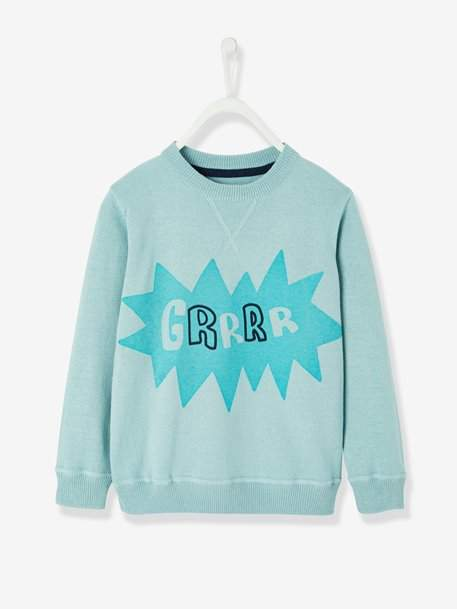 Boys' Printed Jumper in Jersey Knit Fabric - green light solid with design