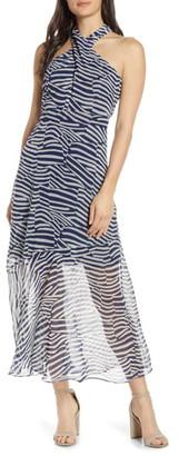 Sam Edelman Graphic Halter Chiffon Maxi Dress