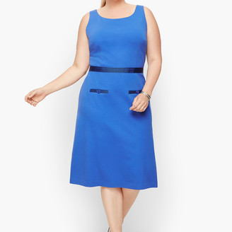 Talbots Ponte Grosgrain-Trim Sheath Dress - Stripe