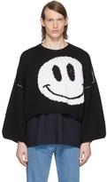Raf Simons Black Wool Smiley Sweater