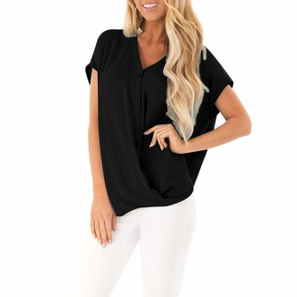 YBWZH Women Fashion Tops Ladies Summer Short Sleeve Chiffon Blouse Women Casual Loose V Neck Button Tops Ladies Summer Confortable Blouse Shirts Black