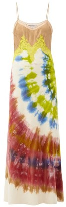 Gabriela Hearst Adolphine Lace-trimmed Tie-dye Cashmere Slip Dress - Green Multi