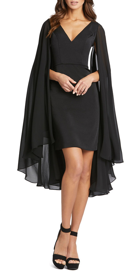 Mac Duggal Chiffon-Cape Sheath Dress