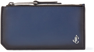 Jimmy Choo CASEY Ink Blue Leather Card Holder with Coin Pocket