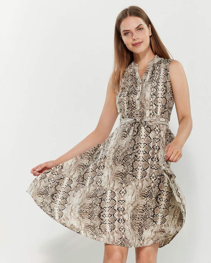Nanette Lepore Nanette Snakeskin Print Sleeveless Pintuck Shirtdress