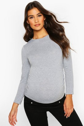 boohoo Maternity Long Sleeve Ruched T Shirt
