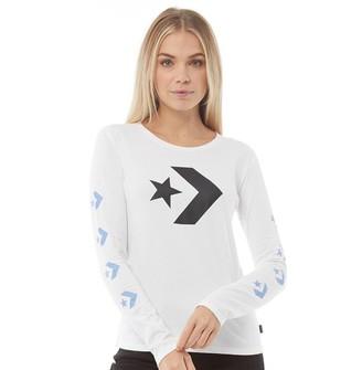 Converse Womens Star Chevron Long Sleeve T-Shirt White