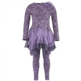 Kate Mack Biscotti Lace Print Tutu Skirt and Leggings Set
