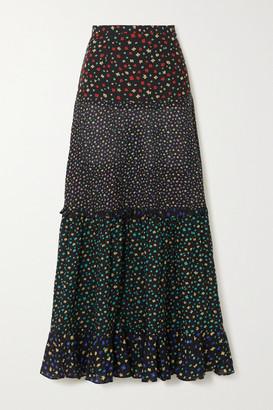 Rixo Dakota Tiered Floral-print Modal Maxi Skirt - Black