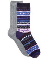 Gold Toe Women's 2-Pk. Ribbed and Multicolor Fair Isle Boot Socks
