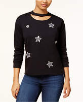 Almost Famous Juniors' Star Graphic Choker Sweatshirt