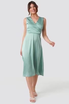 Trendyol Double Breasted Collar Midi Dress Green