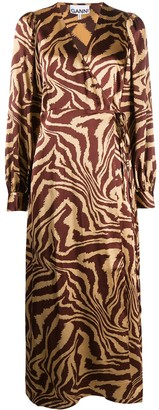 Ganni Animal Print Wrap Dress
