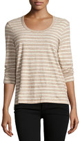 James Perse 3/4-Sleeve Relaxed Tee W/Stripes, Heather Brown/Natural