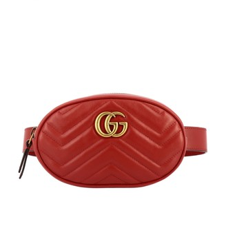Gucci Gg Marmont Belt Bag In Chevron Leather