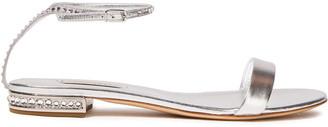 Casadei Crystal-embellished Metallic Leather Sandals