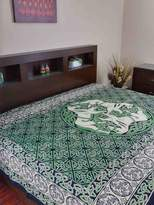 Green & Black India Arts & Celtic Horse Indian Bedspread, Twin