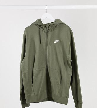 Nike Tall Club zip-through hoodie in khaki