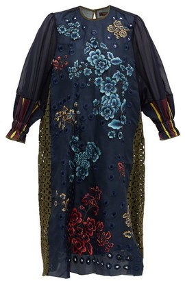 Biyan Andesta Floral-applique Embroidered Satin Dress - Navy Multi