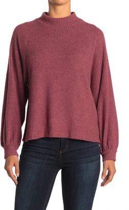 Lush Mock Neck Waffle Knit Sweater