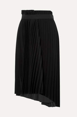 Balenciaga Asymmetric Pleated Crepe Midi Skirt - Black