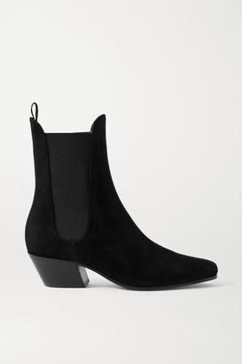 KHAITE Saratoga Suede Ankle Boots - Black