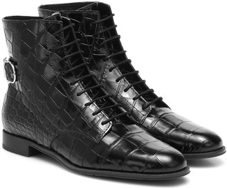 Tod's Croc-effect leather ankle boots