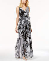 INC International Concepts I.n.c. Printed Ruffle-Trim Surplice Maxi Dress, Created for Macy's