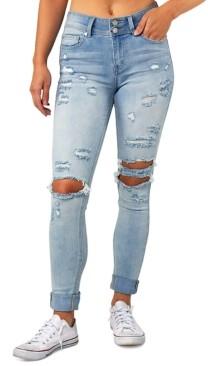 Indigo Rein Juniors' Ripped Cuffed Jeans