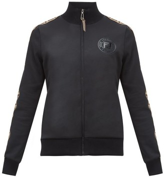 Fendi Ff Logo-trimmed Jersey Track Jacket - Womens - Black