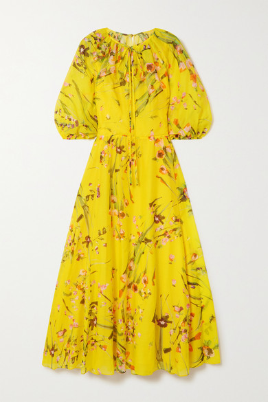 Lela Rose Wildflower Tie-detailed Floral-print Cotton And Silk-blend Voile Midi Dress - Yellow