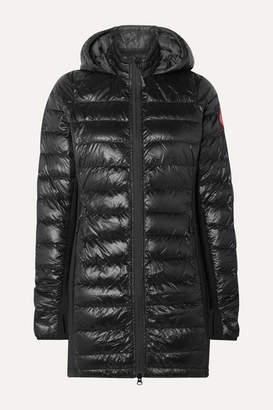 Canada Goose Hybridge Hooded Stretch-jersey And Quilted Shell Down Coat - Black