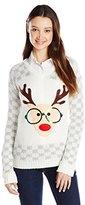 Derek Heart Juniors' Long-Sleeve Nerdy Reindeer Ugly Christmas Sweater