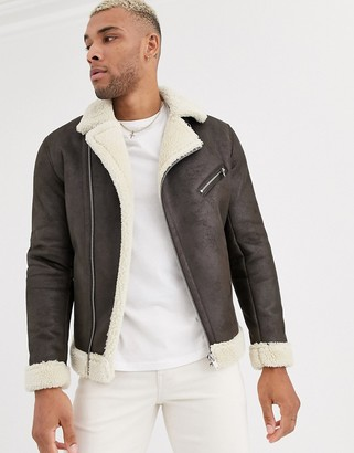 Bershka borg aviator jacket in brown