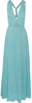 Missoni Metallic Crochet-knit Maxi Dress - Turquoise