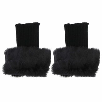 SOIMISS Women Faux Fur Boot Cuff Short Furry Leg Warmers Short Winter Knitted Boot Socks Black