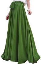 High Waist Elastic Chiffon Beach Maxi Skirts With Long Bow Lilibridal LLBS011