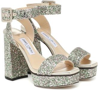 Jimmy Choo Jax 115 glitter platform sandals