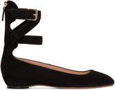 Valentino Black Suede Ballerina Flats