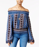 American Rag Printed Off-The-Shoulder Peasant Top, Only at Macy's