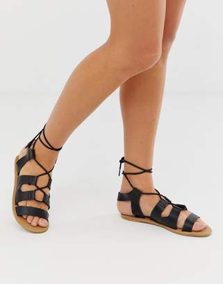 South Beach lace up gladiator sandals-Black