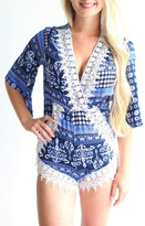 Laundry by Shelli Segal Blue Patterned Romper